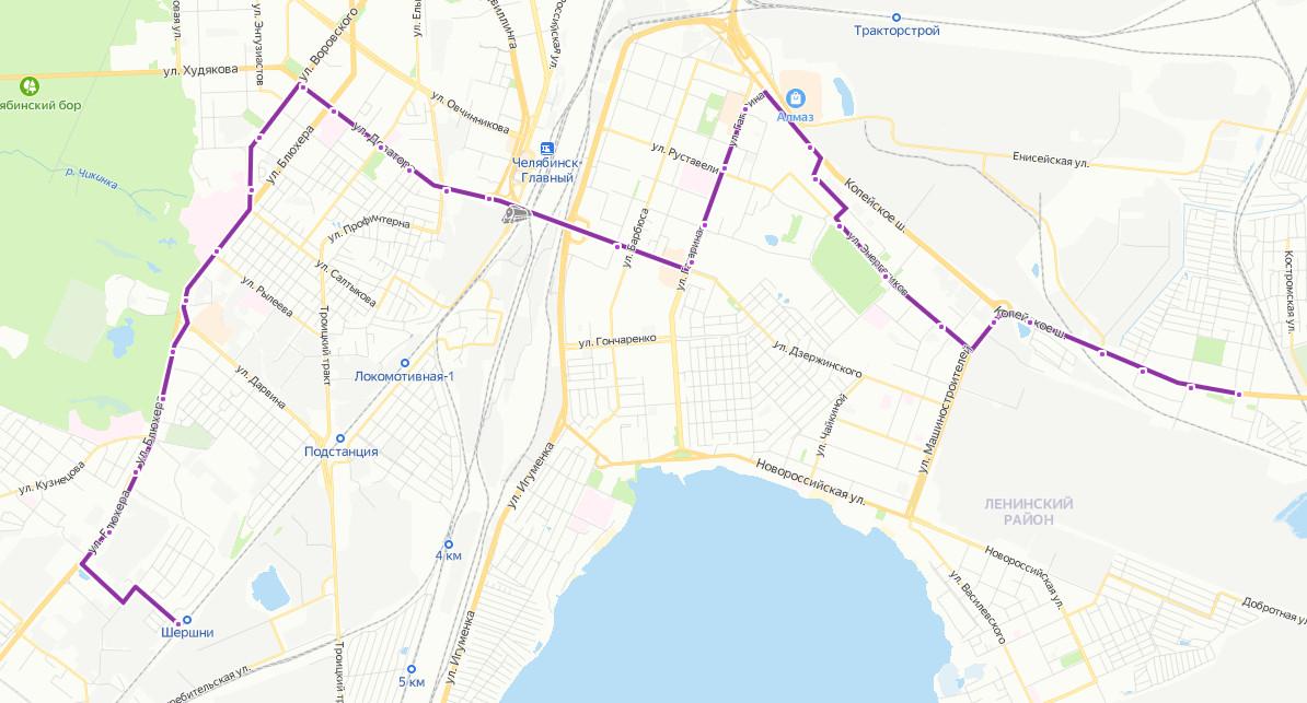 Маршрут маршрутки 77 на карте Челябинска