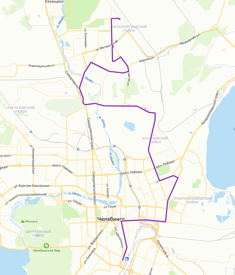 Расписание маршрутки №77 в Челябинске